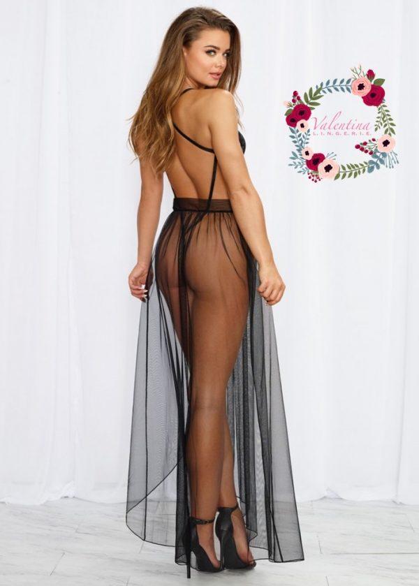 body string noir echancre dentelle avec jupe de maille transparente amovible 5