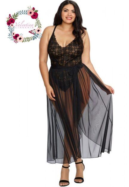 body string noir grande taille echancre dentelle avec jupe de maille transparente amovible 1