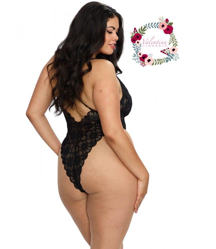 body string noir grande taille echancre dentelle avec jupe de maille transparente amovible 4 1