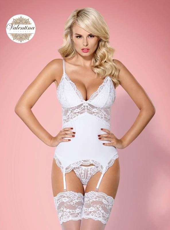 guêpière sexy en dentelle blanche valentina lingerie