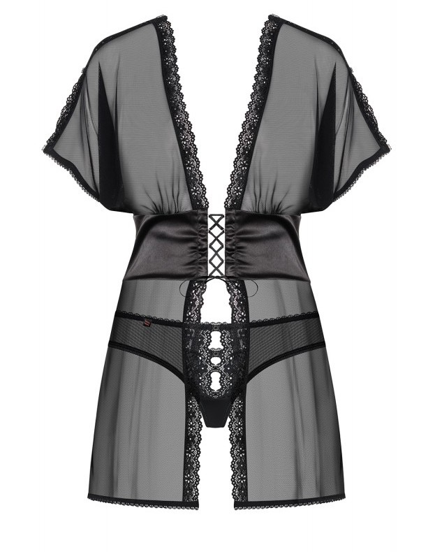 868 bab 1 peignoir babydoll noir obsessive lingerie 3