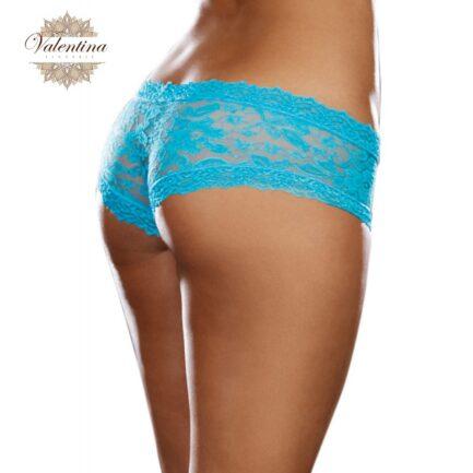 shorty sexy taille basse bleu turquoise en dentelle 2