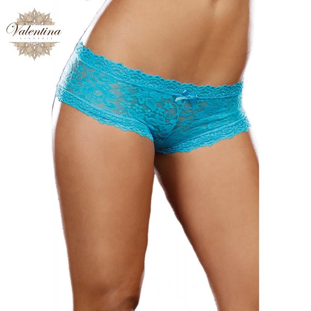 shorty sexy taille basse bleu turquoise en dentelle