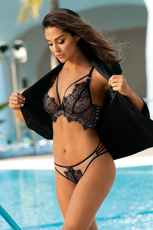 Valentina Lingerie - Ensemble Victoria semi-corset dentelle noire