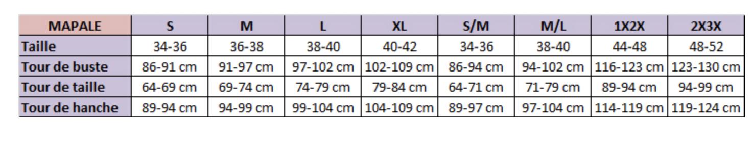 guide des tailles MAPALE